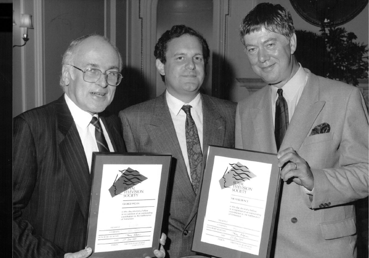Michael Bunce, right, becomes a fellow of the RTS in 1989, with Chairman Bob Phillis (centre) and George Pagan