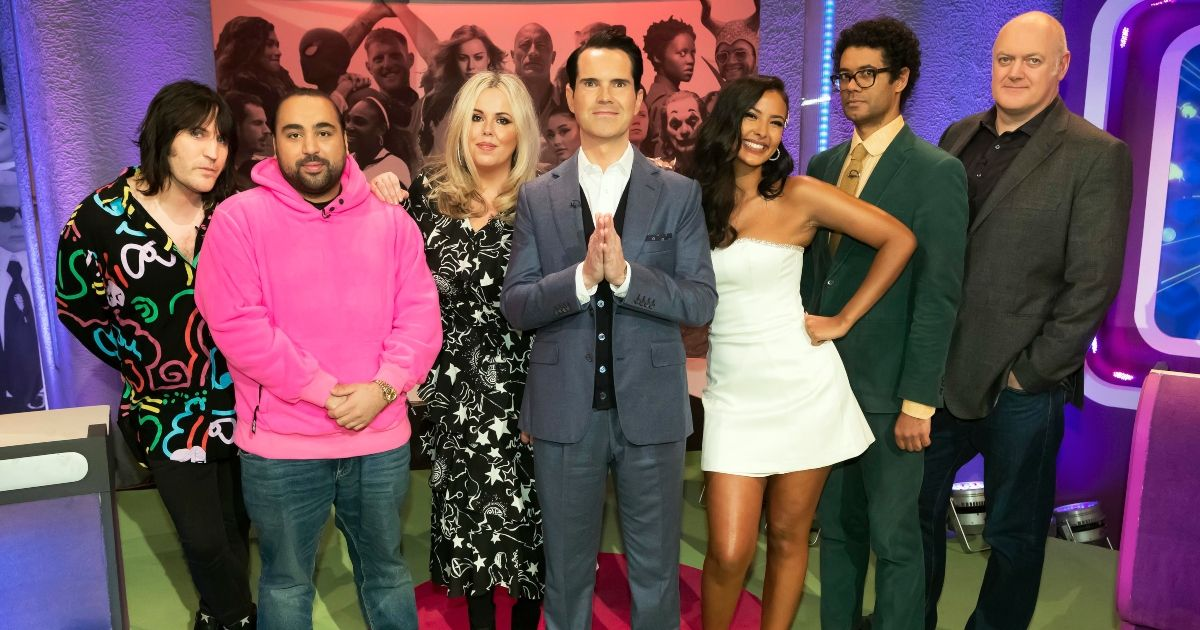 Noel Fielding, Asim Chaudhry, Roisin Conaty, Jimmy Carr, Maya Jama, Richard Ayoade and Dara O'Briain (Credit: Channel 4)