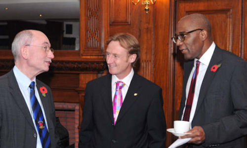 Dr Brian Gibbons AM, Tim Hartley (Chair, Wales Centre), and Trevor Phillips OBE