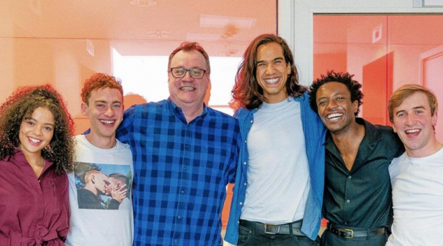 Lydia West, Olly Alexander, Russell T Davies, Nathaniel Curtis, Omari Douglas and Callum Scott Howells (Credit: Channel 4)
