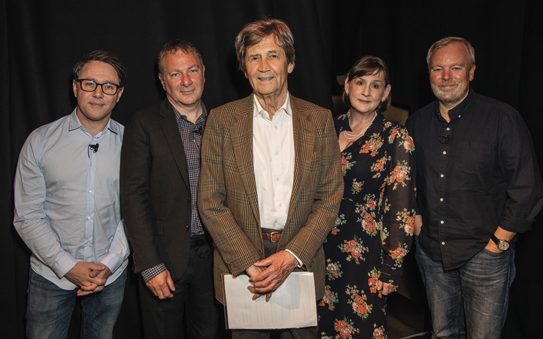 From left: Reece Shearsmith, Jed Mercurio, Melvyn Bragg, Heidi Thomas and Steve Pemberton (Credit: Paul Hampartsoumian)