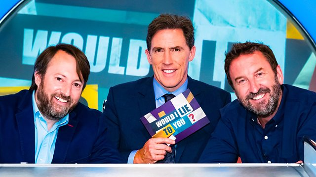 David Mitchell, Rob Brydon and Lee Mack (Credit: BBC)