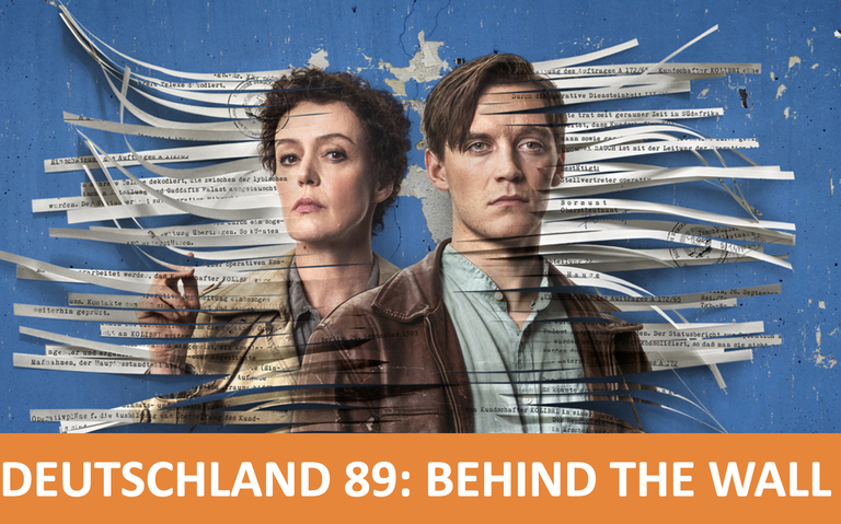 Deutschland 89 Actors Jonas Nay and Maria Schrader against a background of shredded documents and broken plaster
