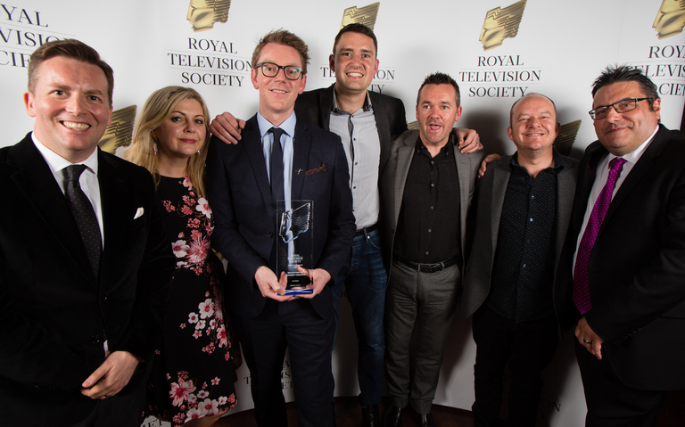 Sky Sports (L-R) David Tanner, Lorna Davidson, Paul McKenna, Richard Davidson, Andy Walker, David Carton, Ian Crocker, one of the winners of Best Sport Award