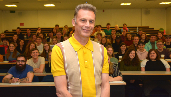 Chris with students behind (Credit: Bournemouth University)