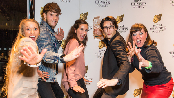 Julia Hardy, Muki Kulhan and the crew of Chopsticks!! (Credit: Paul Hampartsoumian)