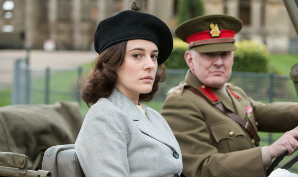 Kathy Griffiths (Phoebe Fox) and Brigadier Wainwright (Robert Glenister) in Close to the Enemy (Credit: A Rogers/ BBC/Little Island Productions)