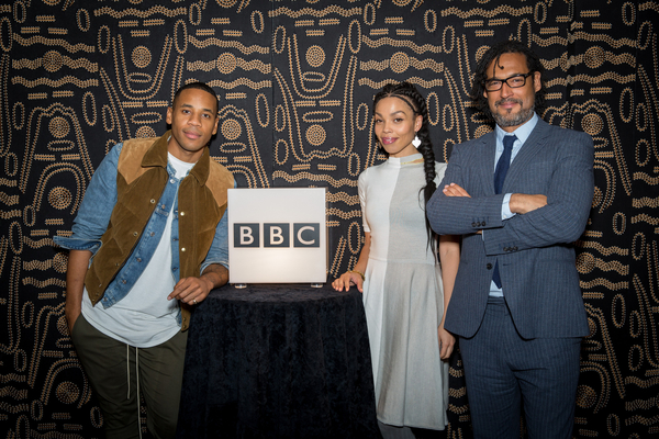 Reggie Yates, Emma Dabiri and David Olusoga at the Black & British Season launch (Credit: BBC/Guy Levy)