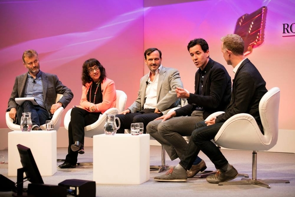 The panel (L-R): Hugh Dennis, Sue Unerman, Jim Ryan, Simon Pitts and Ben McOwen Wilson  panel (L-R): Hugh Dennis, Sue Unerman, Jim Ryan, Simon Pitts and Ben McOwen Wilson (Credit: Paul Hampartsoumian)