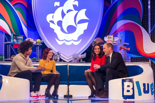 The Duke and Duchess of Cambridge visiting the set of Blue Peter (Credit: BBC/Dan Vernon)