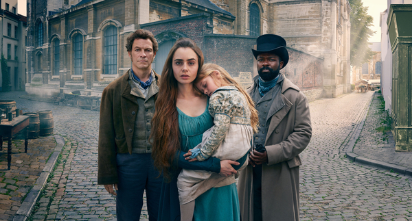 Jean Valjean (Dominic West), Fantine (Lily Collins) and Javert (David Oyelowo) (Credit: BBC/Lookout Point/Mitch Jenkins)