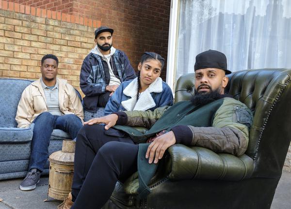 Nate (Tolulope Ogunmefun), Eight (Tez Ilyas), Aks (Dúaa Karim) and Mobeen (Guz Khan) (Credit: BBC/Tiger Aspect/Alistair Heap)