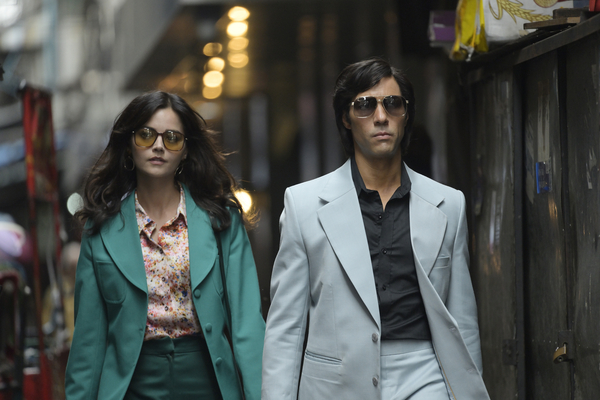 Jenna Coleman as Marie-Andrée Leclerc and Tahir Rahim as Charles Sobhraj (credit: BBC)