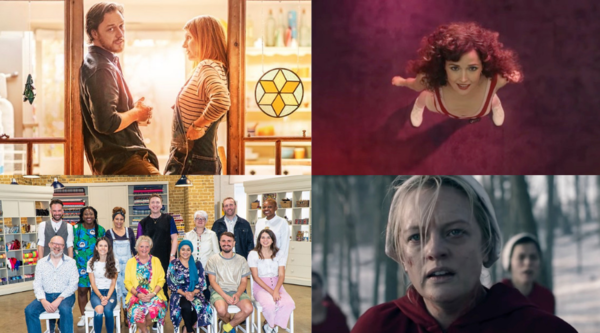 Clockwise L-R: Together (Credit: BBC), Physical (Credit: Apple TV+), The Handmaid's Tale (Credit: Channel 4), The Great British Sewing Bee (Credit: BBC)