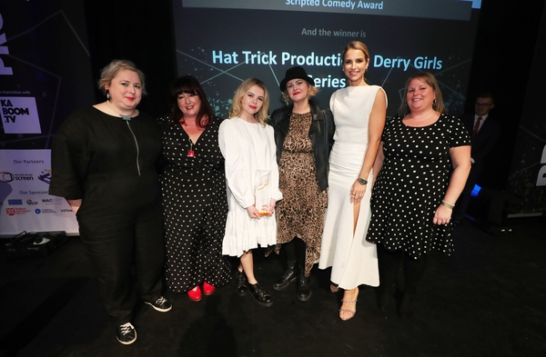 Scripted Comedy Winner - Hat Trick Productions: Derry Girls Series 2 Tara Lynne, Siobhan McSweeney, Vogue Williams, Liz Lewin, Saoirse-Monica Jackson with sponsor Sara Greenberg City Air Express.