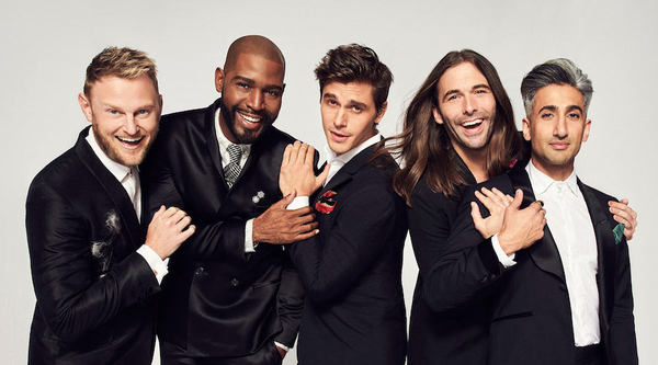 Queer Eye's Fab Five (from left): Bobby Berk, Karamo Brown, Antoni Porowski, Jonathan Van Ness and Tan France (Credit: Netflix)
