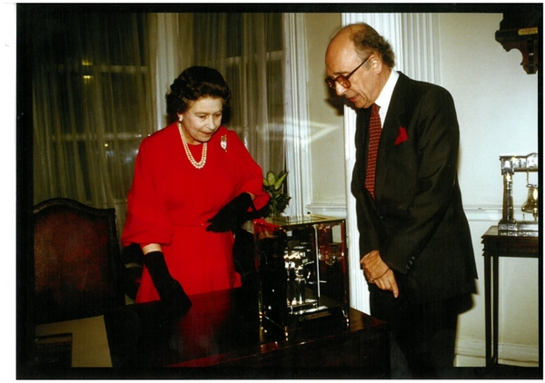 """""""Tony Pilgrim celebrates the Society's 60th anniversary with the Queen in 1987 """""""