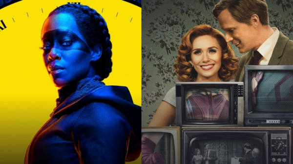 Regina King in Watchmen (Credit: Sky) Elizabeth Olsen and Paul Bettany in Wandavision (Credit: Disney +)