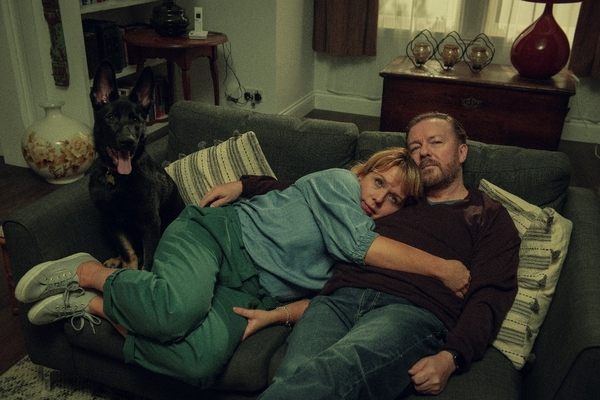 Ricky Gervais and Kerry Godliman (Credit: Ray Burmiston/ Netflix)