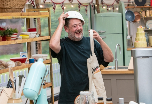 Johnny Vegas on The Great Celebrity Bake Off for SU2C (Credit: Channel/SUTC)