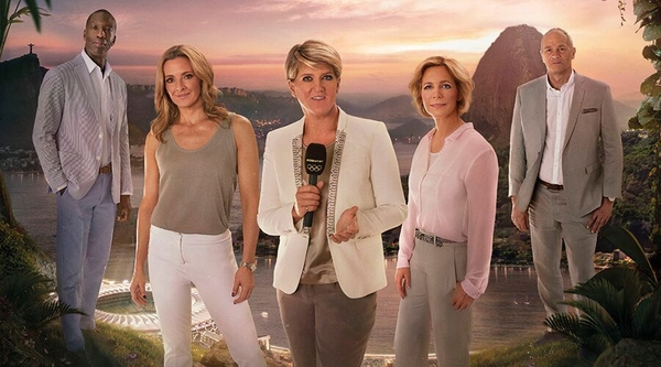 The BBC's presenting team: from left, Michael Johnson, Gabby Logan, Clare Balding, Hazel Irvine and Sir Steve Redgrave (Credit: BBC)