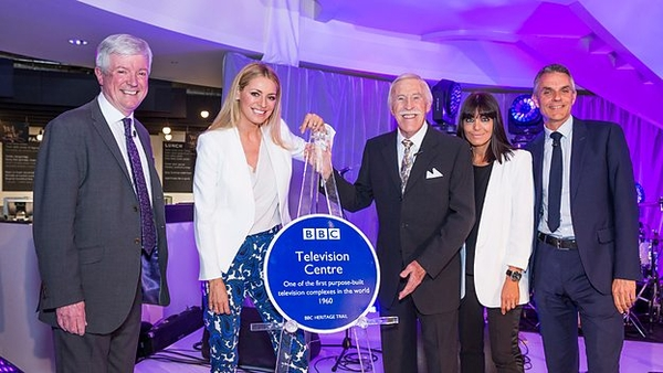 Tony Hall, Tess Daly, Bruce Forsyth, Claudia Winkleman and Tim Davie unveil plaque at Television Centre (Credit: BBC)
