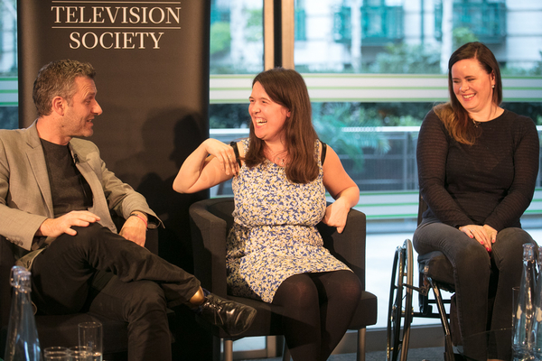 Adam Hills, Rosie Jones and Shannon Murray (Credit: Paul Hampartsoumian)