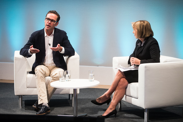 James Murdoch in conversation with Sarah Sands (Credit: RTS/Paul Hampartsoumian)