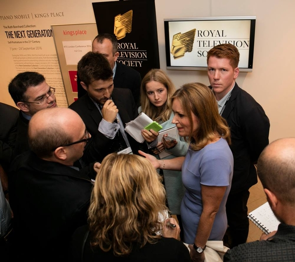Jay Hunt speaks to reporters after the RTS London Conference Session (Credit: Paul Hampartsoumian)