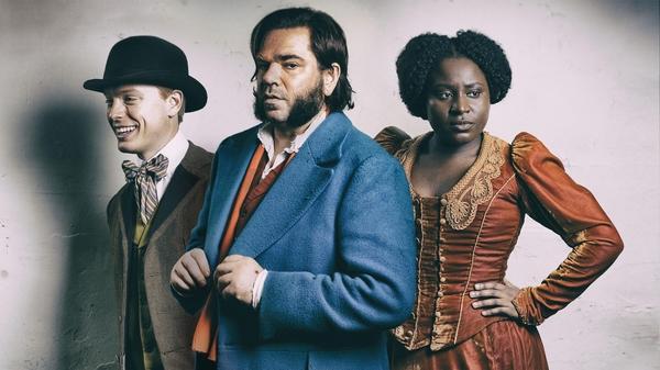 Freddie Fox as Wilbur Strauss, Matt Berry as Rabbit and Susan Wokoma as Mabel Wisbech (Credit: Channel 4)