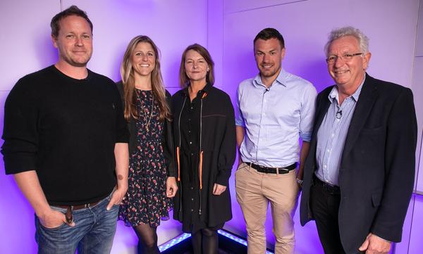 The panel (l-r): Jamie McPherson, Sophie Lanfear, Lynn Barlow, Oliver Scholey, Keith Scholey (Credit: RTS/Paul Hampartsoumian)