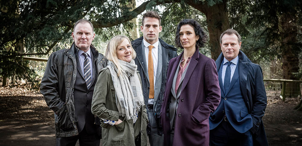 Some of the Paranoid cast: (L-R) Robert Glenister, Lesley Sharp, Dino Fetscher, Indira Varma and Neil Stuke (Credit: ITV)