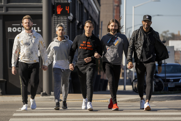 From left:  PICTURED Bobby Berk, Tan France, Antoni Porowski, Jonathan Van Ness, Karamo Brown (Credit: Christopher Smith/Netflix)