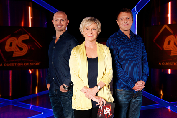 Matt Dawson, Sue Barker, Phil Tufnell the regular panelists on A Question of Sport (Credit: BBC/Stephen Brooks)