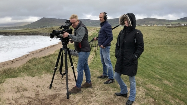 Director Hilary Fennell (far right) and crew on location in Dingle (Credit RTÉ)