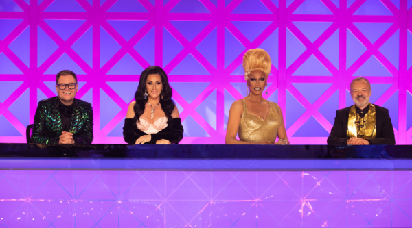 Alan Carr, Michelle Visage, RuPaul and Graham Norton (Credit: BBC/World of Wonder/Guy Levy)
