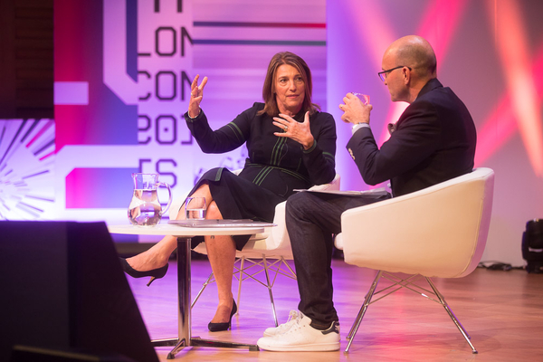 Carolyn McCall talking to Tim Hicks (Credit: RTS/Paul Hampartsoumian)