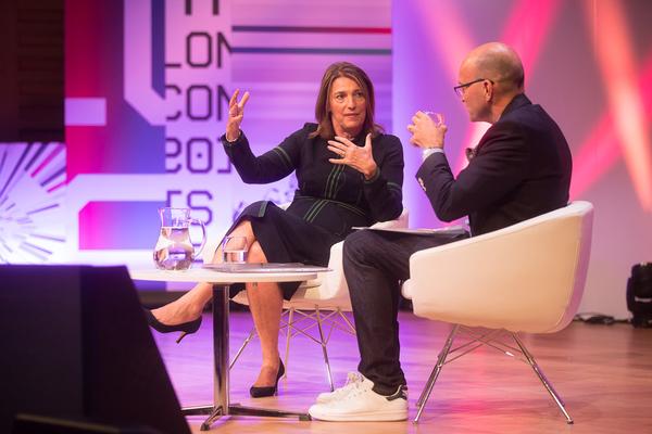 Carolyn McCall talking to Tim Hicks (Credit: RTS/Paul Hampartsoumian)