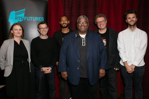 The panel, from left: Kelly Sweeney, Andy Taylor, Randel Bryan, Pay Younge, Adam Gee, Max Gogarty (Credit: Paul Hampartsoumian)