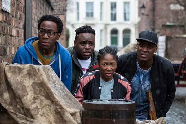 Nick (Daniel Lawrence Taylor), Horace (Samson Kayo), Lauren (Adelayo Adedayo) and Jason (Kadiff Kirwan) (Credit: ITV/Big Talk Productions)