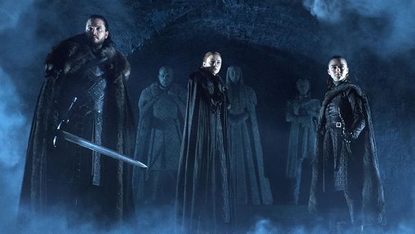 Jon Snow (Kit Harrington), Sansa Stark (Sophie Turner) and Arya Stark (Maisie Williams) (Credit: HBO)