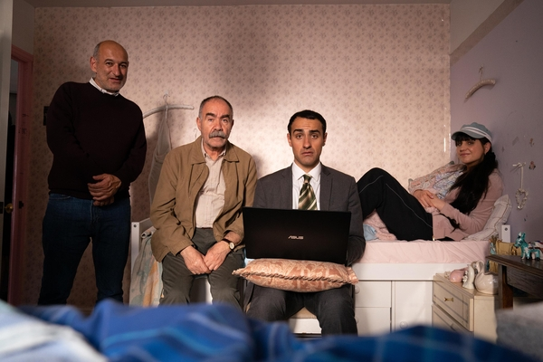 Steven (Jimmy Roussounis), Vasos (Christos Stergioglou), Stath (Jamie Demetriou) and Sophie (Natasia Demetriou) (Credit: Channel 4)