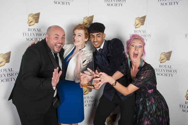 Winners of the drama award: Alex Lamb, Megan Parkinson, Nohail Mohammed and Lily Faith Knight (Ackley Bridge) (Credit: Paul Harness)