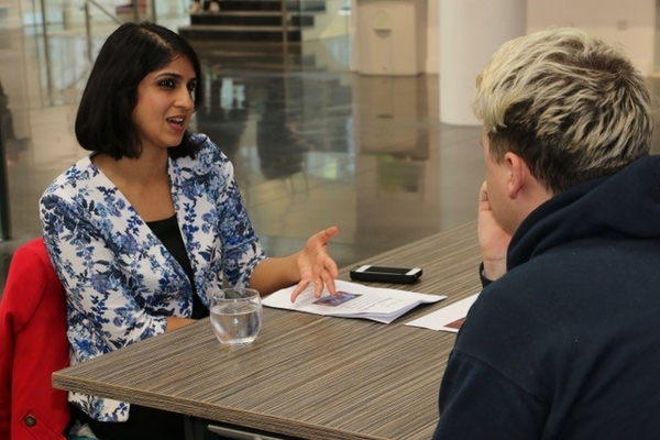 BBC South broadcast journalist Sophia Seth offers advice to student (Credit: Gordon Cooper)