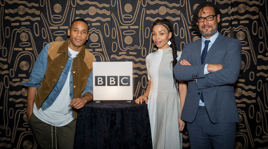 Reggie Yates, Emma Dabiri and David Olusoga at the Black & British Season launch (Credit: BBC/Guy Levy)