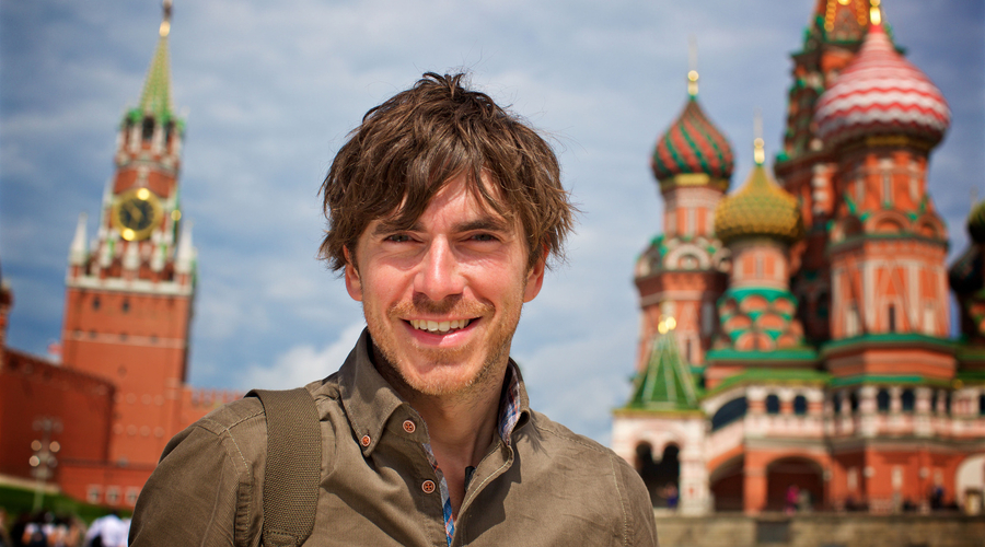 Simon Reeve in Moscow (Credit: BBC/Jonathan Young)
