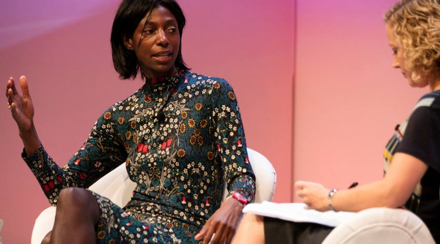 Sharon White (left) being interviewed by Cathy Newman at the RTS London Conference (Credit: Paul Hampartsoumian)