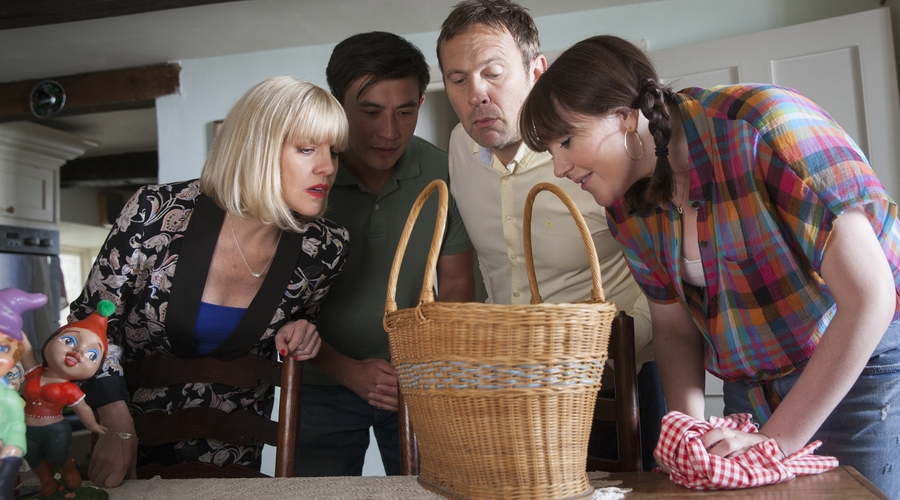Agatha Raisin (Ashley Jensen), DCI Bill Wong (Matt McCooey) and Charles Fraith (Jason Merrells) in Sky One's Agatha Raisin (Credit: Sky)