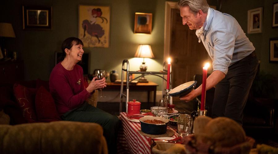 Adrian Dunbar (Jim Hogan) & Ingrid Craigie (Mary Hogan) in Blood (Credit: Channel 5)