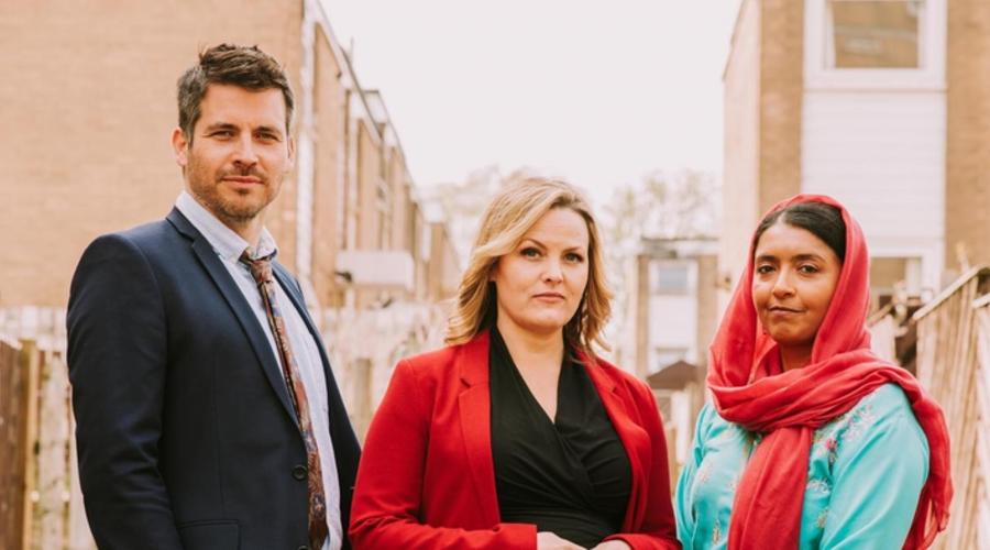 Rob James-Collier, Jo Joyner and Sunetra Sarker (Credit: Channel 4)